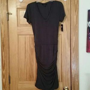 Ladies Charcoal gray tight midi dress